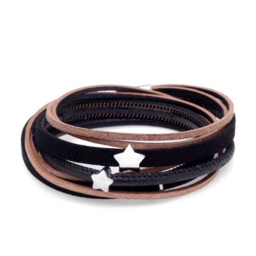 Double Wrap Sparkle Stars Leather Bracelet in Black